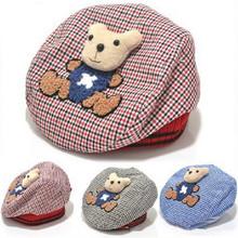 chapéu do bebê animais chapéu crianças cartoon urso boina boné bebê tartan design crianças cocar frete grátis(China (Mainland))