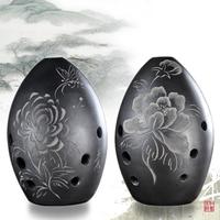 Black pottery xun gu musical instrument small harmonica
