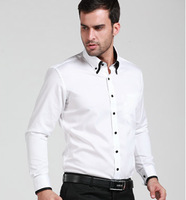 New arrival 2014 spring original brand men's white long-sleeved shirt slim cotton shirts  Business men's T-shirt  plus size