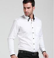 New arrival 2014 spring original brand men's white long-sleeved shirt slim cotton shirts  Business men's T-shirt  plus size