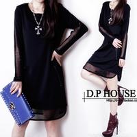 2014 new  loose slim hip plus size long-sleeve dress fashion high quality women's dresses cutout mesh Casual dresses lady
