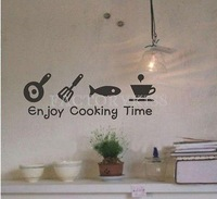Free Shipping Removable Kitchen Enjoy Cooking Time Black Vinyl Decal Home Decor [4007-360]