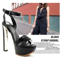 2014 gladiator black leg bandage platform thick heel ultra high heels sandals female