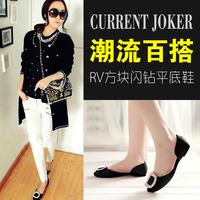 2014 women's shoes rv side buckle rhinestone flat satin round toe flat heel single shoes female