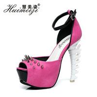 13cm women's ultra high heels shoes platform fashion shoes allotypy with rivet punk open toe sandals female
