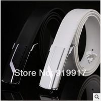 Brand 2014 Hot High-end Men's Belts Leisure Fashion Leather Belt Wholesale Cowhide Smooth Buckle Black White Belt  125cm 110cm