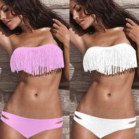 S M L XL new 2014 female sexy tassel bikinis set solid push up bikinis women swimming costume large plus size swimwear