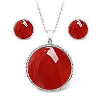 Red Agate  Silver Sun Flower Women's Jewelry set