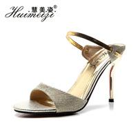 Gentlewomen 2014 summer high-heeled shoes gold sexy thin heels high-heeled sandals