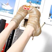 2014 ladies gold wedding shoes ultra high heels thin heels platform open toe high-heeled sandals female