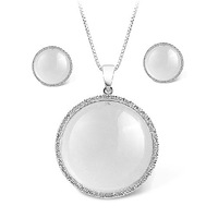 White Moonstone  Silver Sun Flower Women's Jewelry set