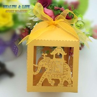 Free shipping 50pcs golden color Laser cut elephant Wedding Candy favor Box wedding party gift present Chocolate Box