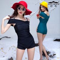 2014 Women's one piece swimsuit boxer fashion plus size swimwear free shipping