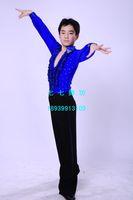 10sets Male Latin dance Latin dance top child Latin dance performance wear 1025  kids dance wear suit