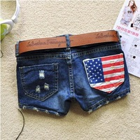 Free shipping 2014 summer new arrival women's fasion denim shorts America flag denim shorts jeans female