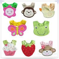2014 New Cotton Baby Bibs 5pcs Carter Bibs Infant Cartoon Baby Bibs Baby Pinny Animal Patters Mixed Order Free Shipping