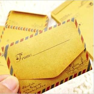 50 pcs/set Mini Retro Vintage Kraft Paper Envelopes Cute Cartoon Kawaii Paper Korean Stationery Gift Free shipping 253(China (Mainland))