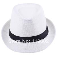 Free Shipping 2014 Fashion Unisex Solid Braid Fedora Trilby Gangster Cap Summer Beach Sun Straw Panama Hat Panama Hats Hot Sale