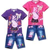 16033004 Children's clothing set  Short sleeved T - Shirt  + Denim Shorts pants jeans girl's sets Cartoon cute Peppa pig