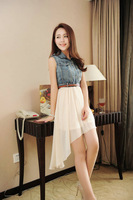 2014 new Korean version of the denim stitching chiffon dress elegant fairy skirt beach dress with belt