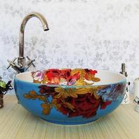 Handmade applique tub wash basin wash basin ceramic wedding bathroom lavendered 1123