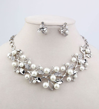 The bride necklace pearl rhinestone alloy accessories necklace earrings marriage accessories wedding accessories