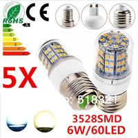 Free shipping 5X 6W 60LED 3528 SMD E27 E14 B22 G9 GU10 Corn Bulb Light Maize Lamp LED Light Bulb LED Lamp White/Warm White