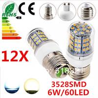 12pcs/lot 6W 60LED 3528 SMD E27 E14 B22 G9 GU10 Corn Bulb Light Maize Lamp LED Light Bulb LED Lamp White/Warm White