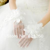 2014 Sale Seconds Kill White Wrist Cotton Silk Free Bridal Gloves Wedding Formal Dress Veil Accessories Big Flower Short Dsm8121