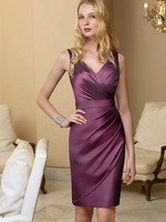 2014 Elegant Purple/Any Color Short Slim Women Formal Short Evening Dress V-Neck Tank Empire Party Gowns Any Plus Size