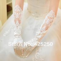 2014 Seconds Kill Rushed White Elbow Cotton Long Design Cutout Lace Formal Dress Wedding Gloves Liturgy Bridal Banquet Dsm8122