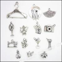 Mix 84pcs Vintage Charms Commodity Pendant Tibetan silver Zinc Alloy Fit Bracelet Necklace DIY Metal Jewelry Findings