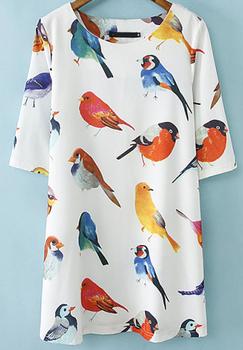 2014 новый жаркое лето мода женщин белый шею полурукав птицы печать сдвиг широкий ...