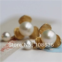 Free Shipping  Round Nature Freshwater Pearl Drop Earring Pure Silver Earring With Real Nature Pearls Gold Plated Flower