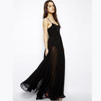 Black spaghetti strap skirt perspectivity lining long design dress one-piece dress