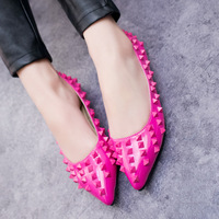 Free shipping 2014 spring flat heel pointed toe shoes rivet women's shoes single shoes women's shoes sapatos zapatos
