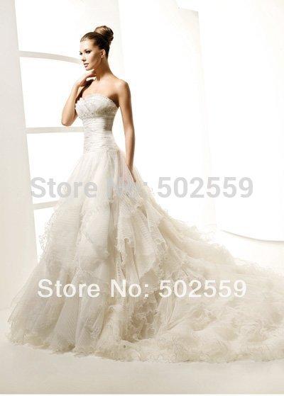 Free Shipping HS662 Handmade Beading Empire Style Wedding