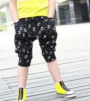 2014 New Arrival Wholesale 5pcs/lot Summer Fashion Hot Sell Boys Cool Skull Pattern Children Kids Fifth Harem Pants