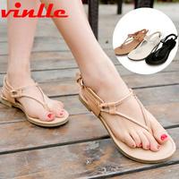 VINLLE 2014 Fashion Sandals Female Flower FLat Flip-flop flats Women's Shoes casual sandals size  34-48