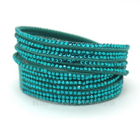 Leather Wrap Bracelets, Leather Bracelet Adjustable Button in This Paper, Crystal Bag Leather Fashion Rhinestone Bracelet