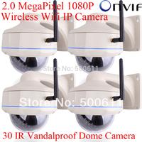 4pcs H.264 Onvif  2.0 Megapixel 1080P HD 25fps Network Wireless Wifi IP Camera 30 IR Vandalproof Dome Outdoor