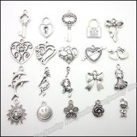 Mix 200pcs Vintage Charms  Pendant Tibetan silver Zinc Alloy Fit Bracelet Necklace DIY Metal Jewelry Findings