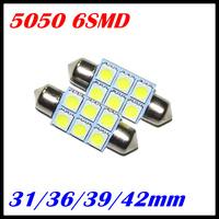 10PCS/LOT led light festoon C5W 6SMD 6 leds 5050 31MM 36MM 39MM 42MM Auto led light FREE SHIPPING
