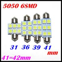 10X 31mm 36mm 39mm 42mm C5W Car led light 5050SMD festoon 6 LED SMD 6SMD Auto led LIGHT LAMP bulbs Free shipping