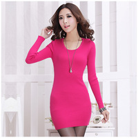 Slim basic 619 cutout basic knitted sweater dress one-piece dress