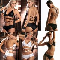 New 2014 Bandage Swimwear Women Sexy Push Up Bikini Vintage Swimsuit Fashion Brand Bathing Suit Rope Three-Point Bikinis Set