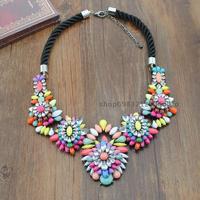 Fashion sho rk rainbow colored crystal gem necklace short design female necklace