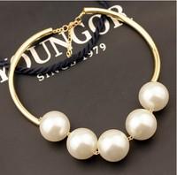 Fashion European Western statement elegant Chain Pendant choker Big Pearl  necklace jewelry