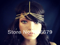 2014 New Fashion Gold Silver Head Chain BOHO Style Headdress Hairband Jewelry Hair Chain Headpiece Gift for Women