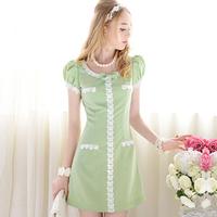 wholesale Summer green white paillette laciness slim gentlewomen bubble short-sleeve a one-piece dress